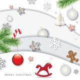 Fondo del invierno de la Navidad y de la Feliz Año Nuevo capas del recorte del papel 3d con los elementos decorativos ilustración del vector