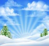 Fondo del invierno de la nieve de la Navidad Fotografía de archivo libre de regalías