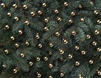 Fondo del invierno de las ramas del abeto Adornado con las chucherías del oro Tarjeta de Navidad Visión superior Enhorabuena de N imágenes de archivo libres de regalías