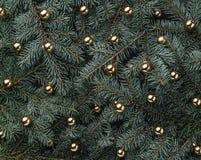 Fondo del invierno de las ramas del abeto Adornado con las chucherías del oro Tarjeta de Navidad Visión superior Enhorabuena de N foto de archivo libre de regalías