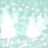 Fondo del invierno del Grunge con el pino y las montañas Imagen de archivo