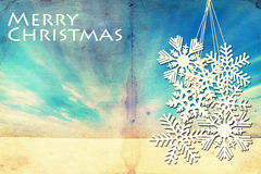 Fondo del invierno del Grunge con los copos de nieve grandes Fotos de archivo libres de regalías