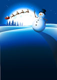 Fondo del invierno del muñeco de nieve Foto de archivo