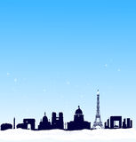 Fondo del invierno del vector. Horizonte de la silueta de París Foto de archivo libre de regalías