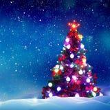 Fondo del invierno Feliz Navidad y Feliz Año Nuevo Ca de saludo Fotos de archivo