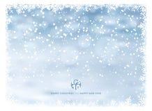 Fondo del invierno del marco del copo de nieve con nieve el día de fiesta de la Navidad ilustración del vector