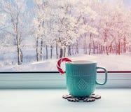 Fondo del invierno - taza con el bastón de caramelo en bosque del alféizar y del invierno al aire libre Foto de archivo