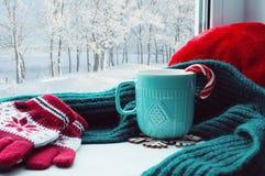 Fondo del invierno Taza con el bastón de caramelo, la bufanda de lana y los guantes rojos en alféizar y bosque del invierno afuer Foto de archivo
