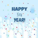 Fondo del invierno del texto de las letras de la Feliz Año Nuevo Vector la plantilla de la tarjeta de felicitación con la tipogra Foto de archivo libre de regalías