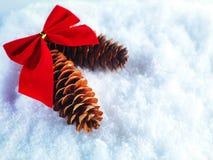 Fondo del invierno y de la Navidad El chispear hermoso decoración de plata y roja de la Navidad en un fondo blanco de la nieve Foto de archivo