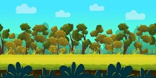 Fondo del juego con el bosque y el primero plano verde, vector Foto de archivo