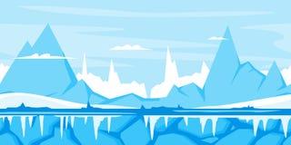Fondo del juego de la montaña del invierno stock de ilustración