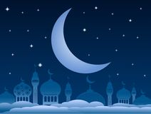 Fondo del kareem del Ramadán con la mezquita y luna en el cielo nocturno Vec libre illustration