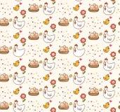 Fondo del kawaii del pollo y del huevo stock de ilustración