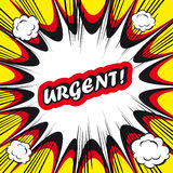 Fondo del libro di fumetti urgente! bollo dell'ufficio di Pop art della scheda del segno   Fotografia Stock Libera da Diritti