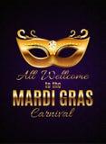 Fondo del manifesto di Mardi Gras Party Mask Holiday Illustra di vettore Fotografie Stock Libere da Diritti