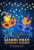 Fondo del manifesto di Mardi Gras Party Mask Holiday Illustra di vettore Fotografie Stock