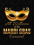 Fondo del manifesto di Mardi Gras Party Mask Holiday Illustra di vettore Fotografia Stock
