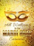 Fondo del manifesto di Mardi Gras Party Mask Holiday Illustra di vettore Immagini Stock