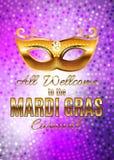 Fondo del manifesto di Mardi Gras Party Mask Holiday Illustra di vettore Immagine Stock