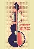 Fondo del manifesto di musica country con gli strumenti musicali e dicembre royalty illustrazione gratis