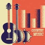 Fondo del manifesto di musica country con gli strumenti musicali e dicembre illustrazione vettoriale