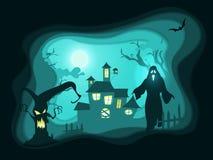 Fondo del manifesto di notte di Halloween con la casa frequentata Immagini Stock Libere da Diritti