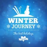 Fondo del manifesto di viaggio di inverno Fotografia Stock