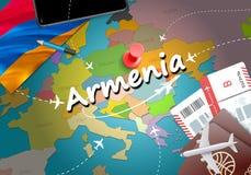 Fondo del mapa del concepto del viaje de Armenia con los aviones, boletos Visi ilustración del vector