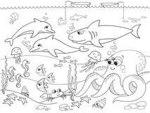 Fondo del mar con los animales marinos Colorante para los niños, historieta del vector Fotos de archivo libres de regalías