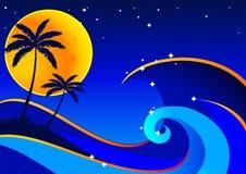 Fondo del mar de la noche stock de ilustración