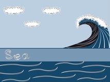 Fondo del mar del vector con la onda Stock de ilustración