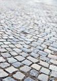 Fondo del marciapiede della pietra della strada del ciottolo Immagini Stock Libere da Diritti