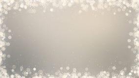 Fondo del marco del Año Nuevo Tarjeta de vídeo del saludo del invierno con los copos de nieve, las estrellas y la nieve Animación libre illustration