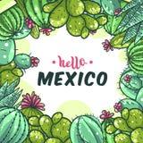Fondo del marco del cactus ilustración del vector