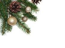 Fondo del marco de la Navidad del árbol de Navidad y del isola de oro de las bolas Fotografía de archivo libre de regalías