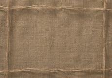 Fondo del marco de la tela de la arpillera, hilo de la cuerda del paño de saco foto de archivo libre de regalías