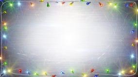 Fondo del marco de las luces de la Navidad Imagen de archivo