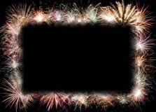 Fondo del marco de los fuegos artificiales del Año Nuevo Fotografía de archivo