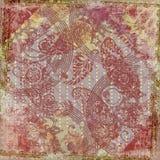 Fondo del marco del diseño floral del batik de Artisti ilustración del vector