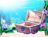Fondo del mare con il vecchio petto Immagine Stock