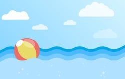Fondo del mare con la palla gonfiabile Immagini Stock Libere da Diritti