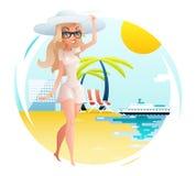Fondo del mare dell'oceano delle palme dell'hotel di viaggio di simbolo di viaggio di turismo di estate di pianificazione della p Immagine Stock Libera da Diritti