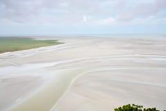 Fondo del mare di marea dal Saint-Michel di Mont Fotografia Stock Libera da Diritti