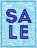 Fondo del mare di Wave del disegno della mano di colore di bannerVector di vendita di estate Struttura astratta dell'oceano Immagine Stock