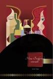 fondo del menú, botellas de vino estilizadas y gente Imagen de archivo libre de regalías