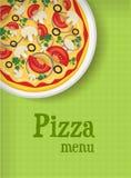 Fondo del menú con la pizza Imágenes de archivo libres de regalías
