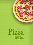 Fondo del menú con la pizza Fotografía de archivo
