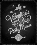 fondo del menú de la pizarra del día de tarjetas del día de San Valentín Imagen de archivo libre de regalías