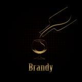 Fondo del menú del diseño del vidrio de brandy Fotografía de archivo libre de regalías